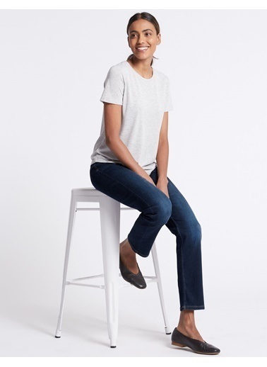 Marks & Spencer Sculpt & Lift Straight Leg Jean Pantolon Mor